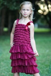 wedding photo - Burgundy Flower Girl Dresses- Christmas Dress- Maroon Lace dress- Rustic Girls Dress- Baby Lace Dress- Junior Bridesmaid