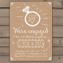 wedding photo - Engagement Party Invitation Engagement Party Invite Engagement Dinner Wedding invite Rustic Shabby chic Ring heart paper Digital Printable