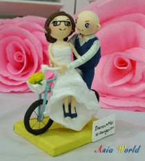 wedding photo - Wedding Cake topper Bicycle Wedding with lace strapless wedding dress clay miniature, clay doll, ring holder clay figurine, clay couple