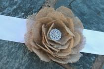 wedding photo - Burlap rose wedding rustic bridal sash ribbon belt.