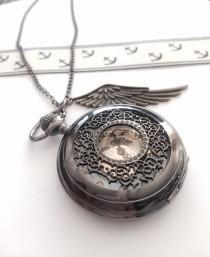 wedding photo - Steampunk Pocket Watch necklace with wing charm- noir black, groomsmen