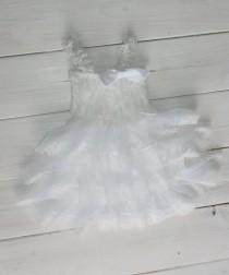 wedding photo - White Rustic Lace Chiffon Dress ....Flower Girl Dress, Wedding Dress, Baptism Dress  (Infant, Toddler, Child)