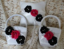 wedding photo - 2 Flower Girl Baskets and 1 Pillow Ring Bearer Pillow-Black and Dark Pink