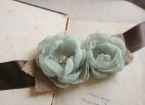 wedding photo - Bridal Flower Sash, Rustic Wedding Dress Sash, Wedding Belt,  Burlap Bridal Sash, Country Wedding Sash, Pistachio Green Chocolate Brown Sash