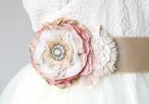 wedding photo - Fabric Flower, Wedding Dress Sash, Floral Sash, Bridal Sash, Pink, Tan, Rhinestone Sash, Rustic, Vintage, Corsage, Ribbon Belt with Flower