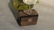 wedding photo - rustic ring box, custom ring bearer box , pillow alternative