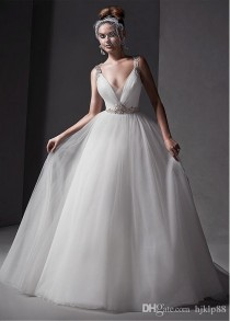 wedding photo -  2015 New Gorgeous Tulle V-neck Neckline Natural Waistline Ball Gown Wedding Dress With Rhinestones Online with $124.61/Piece on Hjklp88's Store | DHgate.com