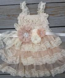 wedding photo - Lace Flower Girl Dress -Lace Flower GirlRustic Flower Girl/Country Flower Girl Dress Cream/Wheat Champagne Wedding-Vintage Wedding-Sash