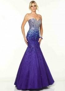 wedding photo - 2015 Deep Royal Strapless Beaded Corset Back Prom Dress [Mori Lee 97050 Deep Royal] - $209.00