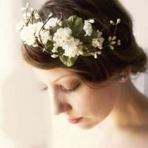 wedding photo - Woodland Flower Crown, Rustic Wedding Headpiece, Ivory Floral Headband, Flower Bridal Hair Band - O PIONEERS