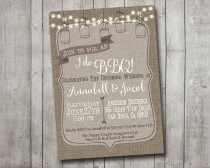 wedding photo - I Do BBQ Barbecue Engagement Party Couples Shower Invitation Rustic Burlap Mason Jar Lights Digital I Customize It For You