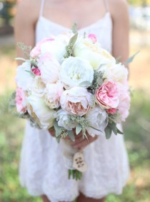wedding photo - Silk Bride Bouquet Cream and Pale Pink Roses and Peonies Wildflowers Natural Bouquet Shabby Chic Vintage Inspired Rustic Wedding Keepsake