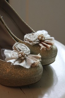 wedding photo - Reserved for Jessica, rolled rosette shoe clips in neutrals with gold button accent