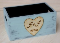 wedding photo - Personalized Wedding Program Basket Holder Card Box Crate Rustic Ceremony Decor (YOUR COLOR CHOICE)