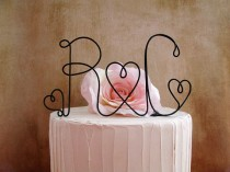 wedding photo - Personalized Initials Cake Topper, Table Centerpiece, Rustic Wedding, Shabby Chic Wedding, Wedding Cake Topper