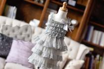 wedding photo - Gray Lace Flower Girl Dress, baby lace dress, Country Flower Girl dress, Rustic flower Girl dress Layered lace dress, tiered lace dress grey
