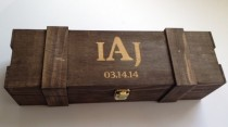 wedding photo - Groomsmen Or Bridesmaid Gift -FREE Shipping- ONE Rustic Laser Engraved Wine Box - Personalized & Stained - Custom Name OR Monogram Engraved