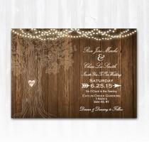 wedding photo - Rustic Tree Wedding Invitation DIY PRINTABLE Digital File or Print (extra) Wood Wedding Invitation String Lights Wedding Invitation