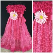 wedding photo - Girls Strapless Hot Pink Dress // Hot Pink Strapless Flower Girl Dress // Toddlers Embellished Dress // Attached Sash