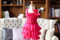 wedding photo - Hot Pink Lace Flower Girl Dress, baby lace dress, Country Flower Girl dress, Rustic flower Girl dress, Layered lace dress, tiered lace dress