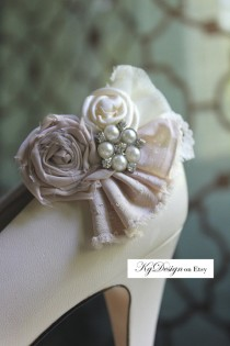 wedding photo - Wedding or Dress- Dusty Blush, rolled rosette shoe clips