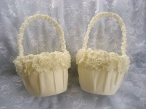 wedding photo - Two Ivory Flower Girl Baskets Shabby Chic Vintage Custom Colors Wedding Basket