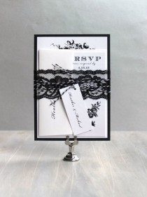 "wedding photo - Modern Floral Wedding Invitations, Modern Wedding, Elegant Wedding Invitations - ""All Black"" - Deposit"