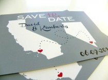wedding photo - Save The Date Postcards Custom State Wedding Map - Set Of 48 - Love Will Find A Way Series