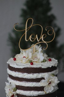 wedding photo - Rustic LOVE Wedding Cake topper - Wooden cake topper - Engagement Cake topper