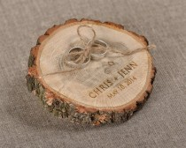 wedding photo - Engraved  Wood Wedding Ring Bearer Slice, Rustic Wooden Ring Holder ,  Burlap Ring Bearer Pillow