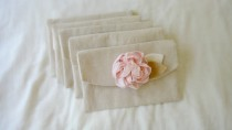 wedding photo - 4 Wedding Clutches Pink Bridesmaid Purses Bridesmaid Gift Wedding Purse Shabby Chic Burlap Wedding Rustic Blush Peony Flower