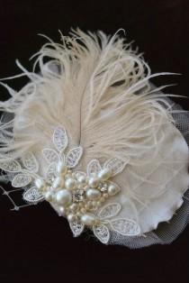 wedding photo - Vintage Hair Accessory Wedding Fascinator Champagne Ecru Ivory Lace Bridal Hairpiece Rustic Wedding Hair Clip Pearls Crystals FeathersVeil