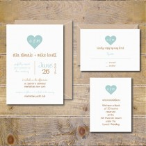 wedding photo - Wedding Invitations, Rustic Wedding Invites, Heart Wedding Invitations, Wedding Invitation - Hearts