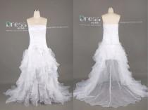wedding photo - White Strapless Pleats Ruffles Organza Hi Low Wedding Dress/Bow Long Wedding Gown/White Hi Low Bridal Dress/Plus Size Wedding Dress DH392