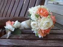 wedding photo - Coral Bridal Bouquet / Coral and Champagne Silk Wedding Set / 17 Piece Silk Wedding Flowers / Rustic Bridal Bouquet / Country Wedding