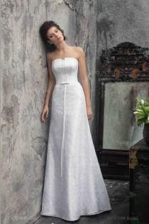 "wedding photo - A Classic Wedding Dress Strapless A-line Stunning Wedding Dress Satin And Lace Wedding Gown - ""Kapela"""