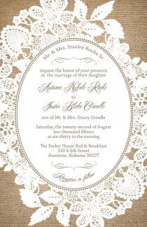 wedding photo - Burlap and Lace Wedding Invitations, Rustic Summer Wedding, RUSH Custom Wedding Invitation Listing for sslove1989
