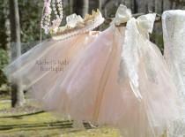 wedding photo - Ivory Lace Tutu Skirt Infant Headband Pearl Pink Strand Newborn Photography Prop Tiara Crown Wreath Wedding Burlap Rustic Vintage Flower