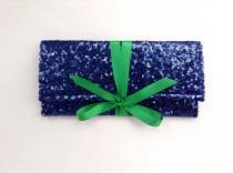 wedding photo - Navy blue sequin clutch with emerald green bow // bridesmaid clutch //Sparkle glitter envelope slim wedding bag // Custom colors