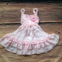 wedding photo - Pink Dress, Light Pink Dress, Vintage Dress, Pink Flower Girl Dress, Beach Wedding Dress, Rustic Wedding, Western Country Dress, Lace Dress