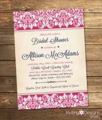 wedding photo - Elegant Bridal Shower Invitation, Wedding Shower Invitation, Damask, Pink, Navy Blue, Rustic, Formal, Customize Your Colors (PRINTABLE FILE)