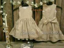 wedding photo - Girls pocket dress. Toddler brown polka dot dress. Toddler girls dresd. Rustic flower girl dress. Toddler birthday. Country flower girl