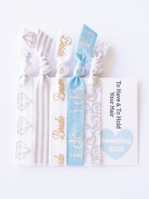 wedding photo - To Have & To Hold Hair Tie Gift Set Bride I do Something Blue hair ties ponytail holder bachelorette bridal shower party favor wedding gift