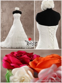wedding photo - A Line Strapless Wedding Dress Organza Bridal Gown Lace Up Back Style WD147