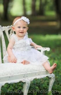 wedding photo - White Dress Christening Dress Flower Girl Dresses-One tier Lace dress- Rustic Girls Dress- Baby Lace Dress- Junior Bridesmaid