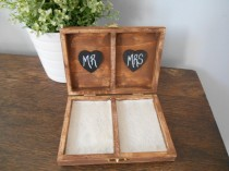 wedding photo - Rustic Personalized Ring Box His and Her's Custom color engraved, ring bearer pillow, chalkboard or wood tag