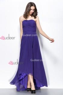 wedding photo - Simple High Low Hem Strapless Ruched Regency Chiffon Prom Dress