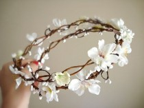 wedding photo - Rustic Chic Wedding Hair Wreath, Flower Girl - SAKURA BRANCH - White Cherry Blossom Head Piece