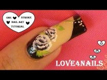 wedding photo - Black Roses Nail Art Design Tutorial