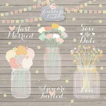 wedding photo - Hand draw Mason Jar Wedding Invitation clipart, Rustic Mason Jar Country Wedding Invitations with Flowers, wood grain background
